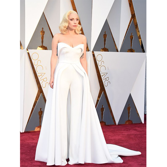 Lady Gaga in Brandon Maxwell at the 2016 Oscars